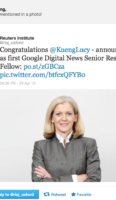 Lucy Küng appointed first Google Digital News Senior Research Fellow, Reuters Institute, University of Oxford, commencing 1 October 2016